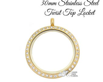 Gold Floating Locket • Stainless Steel • Twist Top • Large 30 mm • Crystals ~ SS117