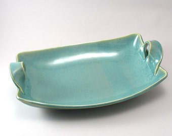 Ceramic Serving Dish - Handmade Tableware - Pottery - Serving Bowl - Rectangular- Stoneware Server - Pearl Green Glaze