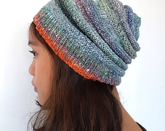 CLEARANCE SALE 40% OFF: Beehive hat / beanie with multi-colored gradient for men / women