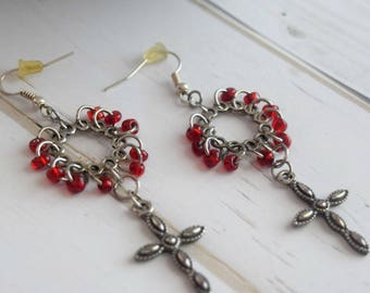 Christian Jewelry, Earrings With Cross, Cross Dangle Earring, Silver Cross Earring, , Cross Jewelry, Red and Silver