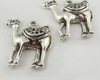Camels (x 2) silver metal charms
