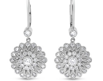 1.08 CT Natural Diamond Vintage Inspired Milgrain Drop Earrings 14k White Gold