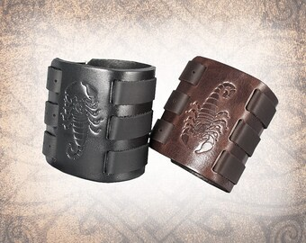 Scorpion Leather Cuff, Leather Wristband, Leather Cuff, Leather Bracelet, Black Leather Cuff, Leather Band - Custom to You (1 cuff only)