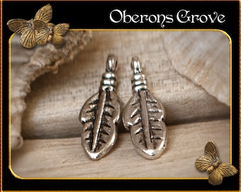 20 feather charms silver 6x17mm