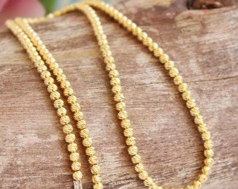 Gold bead necklace Etsy