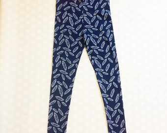 Feather Leggings for Women and Teens - Womens Navy Leggings - Navy Feather Leggings - Feather Leggings - Womens Leggings