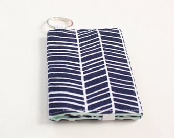 Navy Herringbone Keychain Wallet, Business Card Wallet Navy and Mint, Fabric Card Wallet - READY to SHIP