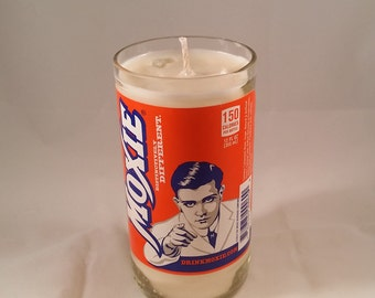 Moxie Soda Bottle Candle, YOU PICK SCENT! Hand cut, Hand Polished, Maine made