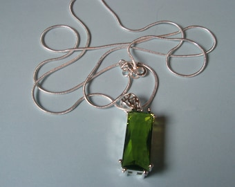 Green Ornate Pendant on Silver Chain