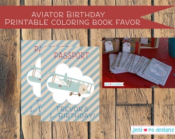 Aviator Birthday Printable Coloring Book Favor - Personalized
