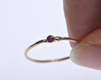 Ruby gemstone stack ring in recycled 14kt yellow gold