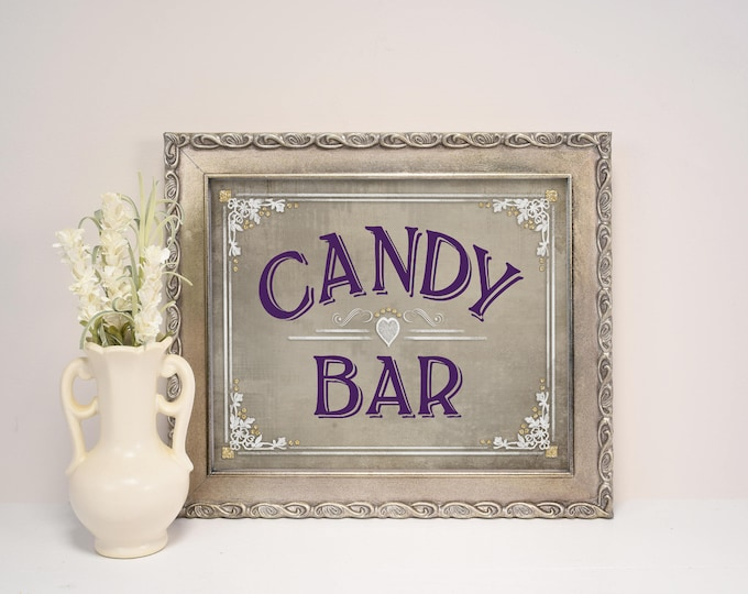Candy Buffet Sign, Candy Bar Sign   PRINTABLE Wedding, Wedding Candy bar sign, Party Candy Sign, Old Lace Collection, Wedding Decorations