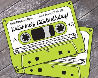 Cassette Tape Invitations - Retro Party, 80's Party Invitation,Mixtape Invite,Green | Editable Text - Instant Download DIY Printable PDF Kit