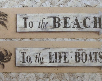 BEACH Palm Tree or LIFE BOAT Crab art prints. Rustic distressed New England style seaside cottage decor by Donna Atkins. Tan, white, neutral