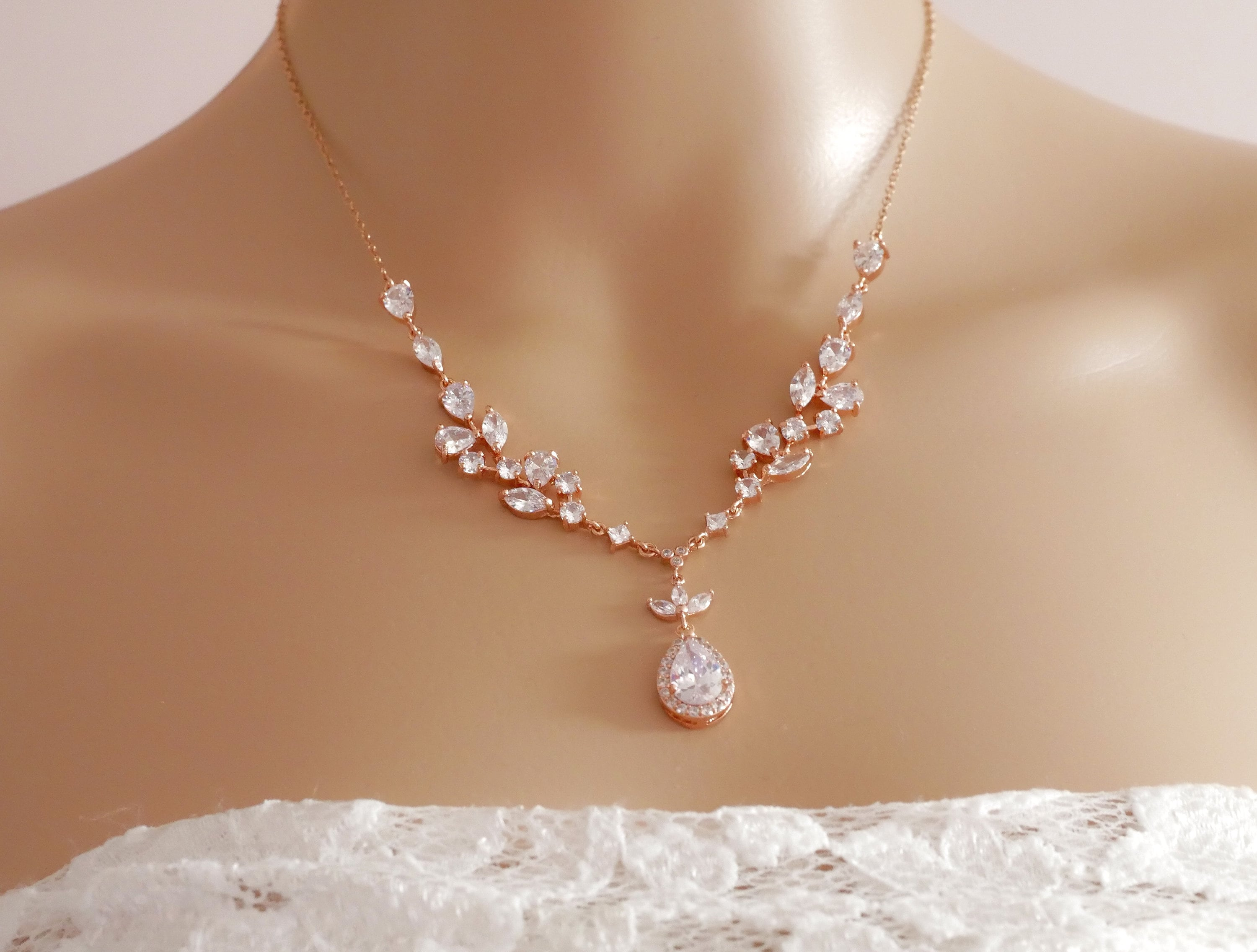Bridal crystal necklace Rose gold or silver sterling silver cubic