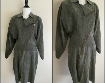 Asymmetrical Zippered Military Green Vintage Dress, Size Large 11/12