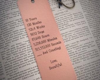 Custom Bookmark,Personalized Bookmark,Copper Bookmark,10th Anniversary,Men's Anniversary,Gift for Him,Wife Anniversary,Gift for Her