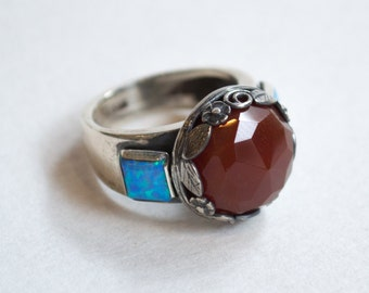 Carnelian ring,  silver ring, multi stone ring, opal ring, Boho ring, gypsy ring, bohemian ring, stone ring - The way I look at you  R2265