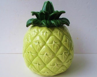 Vintage Pineapple Cookie Jar Cemar 500 Pottery -  Mid Century Pottery - Biscuit Barrel - Pineapple Ceramic - Yellow Pineapple Cookie Jar