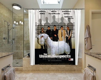 Sealyham Terrier Art Shower Curtain, Dog Shower Curtains, Bathroom Decor - The Usual Suspects Movie Poster