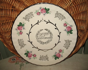 25 th anniversary Avon Wood & Sons.Anniversaire wedding souvenir plate.