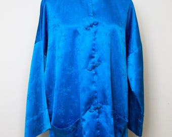 Vintage 1960s/1970s CATHERINE OGUST COLLECTION Blue Satin Tunic or Coat and Mandarin collar