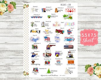 US National Holiday Planner Stickers, 2018, National Day Stickers, Holiday Stickers, National Yearly Holiday Stickers - WH18