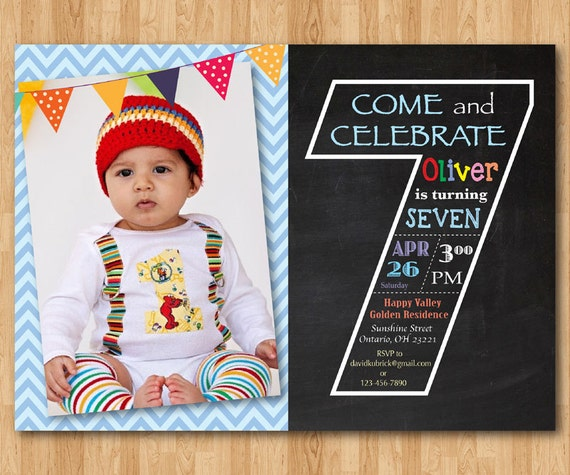 Chalkboard seventh birthday invitation 7th birthday invite chalkboard seventh birthday invitation 7th birthday invite with photo chevron baby boy or girl blue pink any color printable digital stopboris Image collections