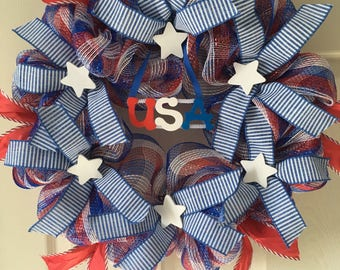 Patriotic wreath,  Red white and blue wreaths , Patriotic decor, 4th of July