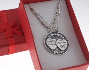 Mizpah coin etsy mizpah coin charm pendants for him and her in sterling silver aloadofball Image collections