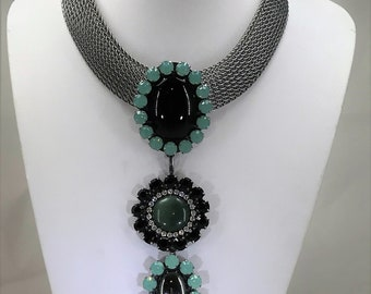 An Amazing Vintage Art Deco Style Signed Ermani Bulatti Statement Choker Necklace with Detachable Pendant