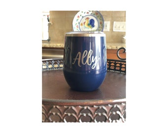 Custom Powder Coated Stainless Steel Stemless Wine Tumbler with Lid and Straw - Permanent Engraving - Not a Decal Sticker - Bridesmaid Gift