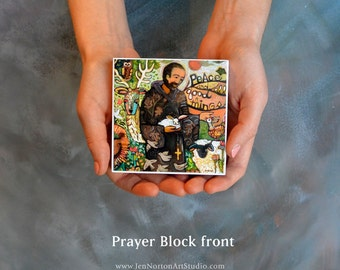 Saint Francis Prayer Block, Peace and Good Things, Prayer of St. Francis religious decoration