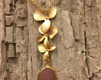 Gold Orchid Necklace with Glass Pendant Necklace
