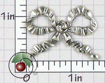 Bow Finding, Bow Stamping, Bow Decoration, Vintage Bow, Bow Embellishment, Silver Ox Plated Brass, 2 Pcs, 1449so2