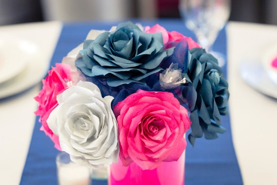 Navy blue hot pink and silver wedding centerpieces Reception