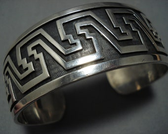 Museum Quality Vintage Hopi Sterling Silver Cuff Native American Bracelet