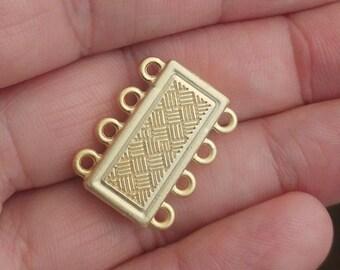 "Brazil bracelet clasp 4 strands 2 pcs 15 x 22 x 6 mm 0,59"" x 0,87"" x 0,24"" gold plated alloy magnetic clasp MCL 1082"