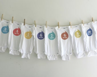 Monthly Onesies for Baby's First Year - Dozen Bodysuits - 1-12 month onesies - Colorful Monthly Onesies - Baby Shower Gift - Baby Onesies