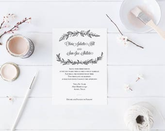 Editable and Printable Black and White Twigs and Laurels Wedding Invitation Template - Instant Download
