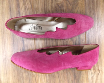 Vintage Mauve Suede Low Heel Pumps Loafers 9 1/2