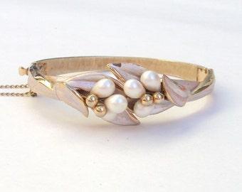 Designer Bracelet, Gold Plate, Faux Pearls, Clamper, Hinge, Bangle, Vintage