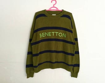 Rare!! Vintage Benetton Spellout Embroidery Striped Pullover Jumper Sweatshirt