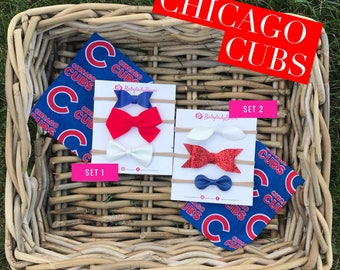 Chicago Cubs Headband | Chicago Cubs Bow | Baby Headband | Baby Bow | Nylon Headband | Clip | Fabric Bow | Baseball Bow | Chicago Cubs