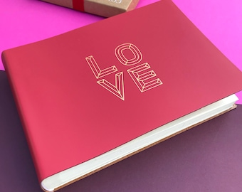 """Embossed Recycled Leather Photo Album --- """"LOVE"""""""