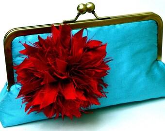 Rory Clutch, Handbag, Dupioni Silk Lining in Victorian rose