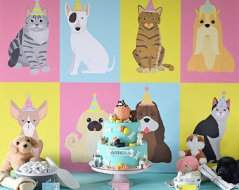 "Puppy Kitten Birthday Party 36"" x 48"" Cake Table Backdrop INSTANT DOWNLOAD Printable Digital File Dessert Table, Cat, Dog, Bow Wow Meow"