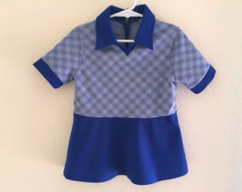Vintage Toddler Girls 70's Mod Dress, Cobalt Blue, White, Short Sleeve by JC Penney (2T)