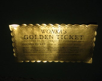 12 Custom Chocolate Factory Golden Tickets as Invitations
