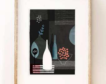 Abstract still life art print 'Night Hours I'. Graphic art print, modern gallery wall art